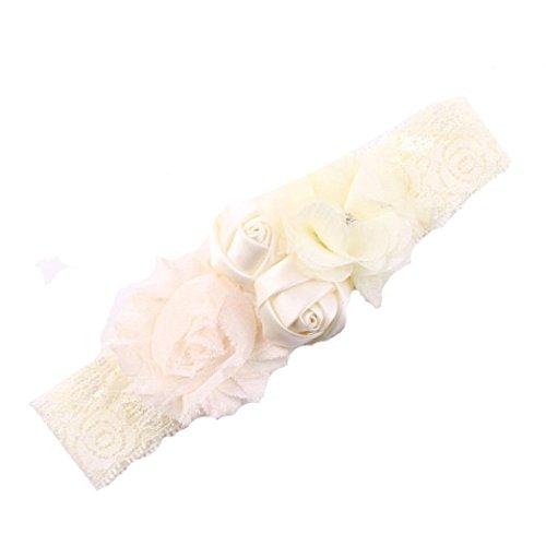 BZLine® Roses Décor Bandeaux Elastiques Dentelle Floral Couleur Unie pour Bébés Filles 0-3 Ans (Beige)
