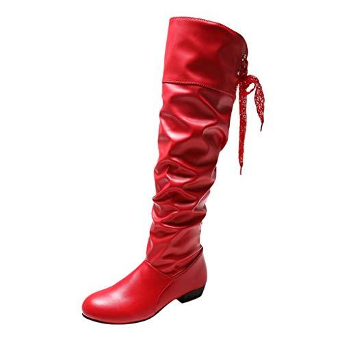 COZOCO Damen Warme Winterstiefel Einfarbig Spitze Hohe Stiefel Keilabsatz Lange Schaftstiefel wasserdichte rutschfeste Outdoor-Schuhe(rot,38 EU)