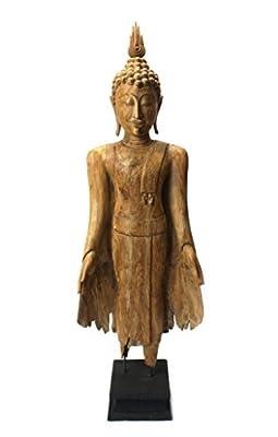 Old teak standing Buddha figure, 125cm high