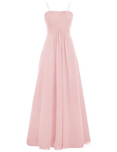 Dresstells Damen Prägnant Chiffon Abendkleider Ballkleider lang Spaghetti  Festkleider Brautjungfernkleider Rosa