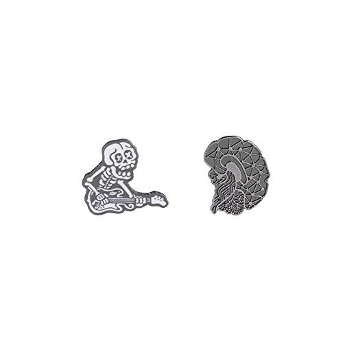 2 Pins esqueleto guitarrista y Cerebro