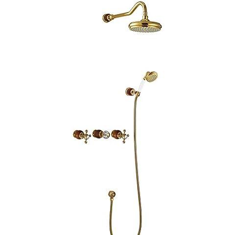 Il normale standard bagno oro rame portato European-Style doccia calda e fredda antichi rubinetti doccia l'installazione della camicia in S - Camicia Salmon