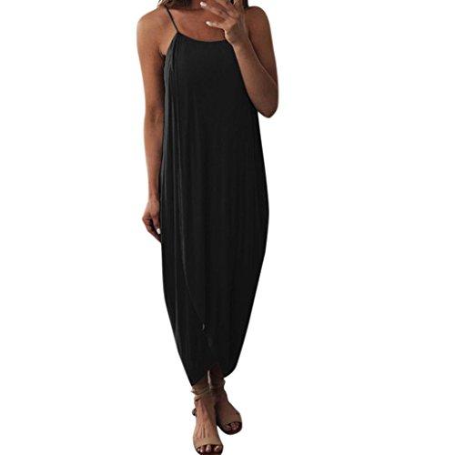 Sommer Lose Riemen Böhmischen Elegante Urlaub Lässig Party Strand Kleid mit Schlitz Strandkleid Schulterfreies Mode Blusenkleid Sommerkleid (XL, Schwarz) (Kostüme Mit Schwarzen Kleid Shirt)