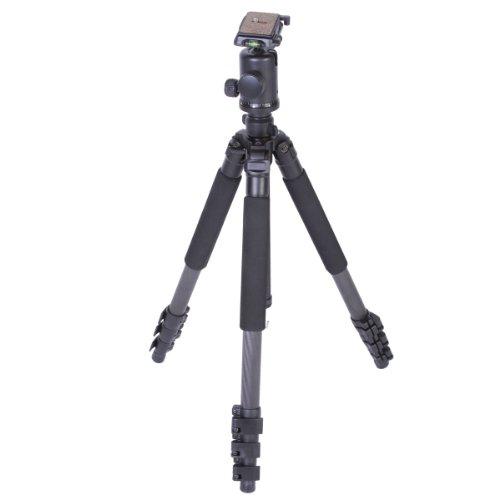 Walimex Pro FT-6664BT Carbon-Pro-Stativ und Kugelkopf (max. Höhe 160 cm, Drehbare Mittelsäule, Belastbarkeit 10 kg, Tasche, 1/4 Zoll Gewinde)