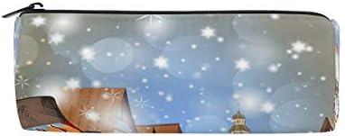 Isaoa Trousse Scène de Noël avec maisons Portable ronde ronde ronde Pen Sac pochette de rangeHommes t Sac à main porte-stylo Cadeau de Noël pour enfants étudiant officier de voyage maquillage Sac pour femme fille B07JPKGLQN | Merveilleu 1dea1e