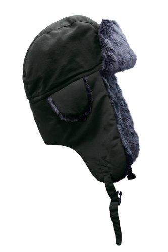 PIERRE ROCHE Mens Plain Trapper Bomber Hat Russian Faux Fur Hat Ski Aviator