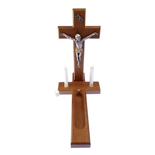25,4cm Holz Kreuz Sick Call Set Kruzifix Kerzen Weihwasser Flasche Kommunion - Set Holz Kreuz