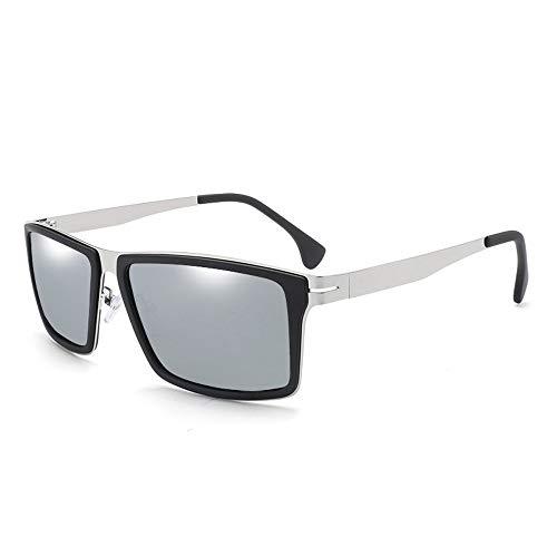 Easy Go Shopping Fischen, das Glas-Mann-polarisierte Sonnenbrille-Bunte Klassische Gläser fährt Sonnenbrillen und Flacher Spiegel (Color : Silber, Size : Kostenlos)