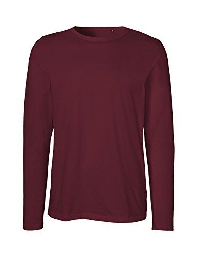 Green Cat- Herren Langarm T-Shirt, 100% Bio-Baumwolle. Fairtrade, Oeko-Tex und Ecolabel Zertifiziert, Textilfarbe: Bordeaux, Gr.: XL -
