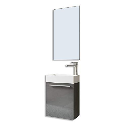 Meuble de salle de bains petite vasque avec meuble sous vasque et mirroir pour WC séparé Pisa 46x26x63 gris brillant