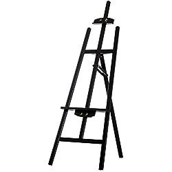 Homcom Chevalet d'artiste sur Pieds Inclinaison réglable jusqu'à 90° dim. 48L x 71l x 140H cm Bois de hêtre Noir