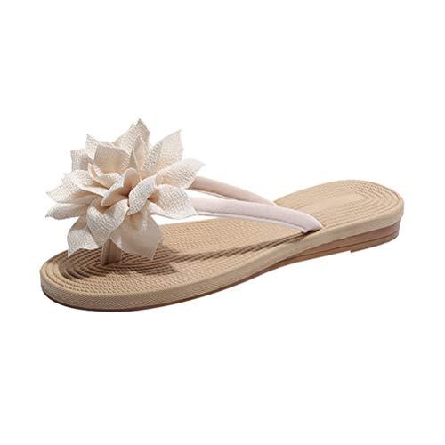 hen Sommer Strand Flip Flops mit Blumen Hausschuhe Größe 36 (Cremeweiß) ()