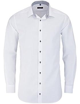 ETERNA Modern Fit Hemd extra langer Arm Patch Chambray weiß AL 68