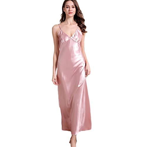 Ziyou Frauen Sexy Casual V-Ausschnitt Kreuz und quer rückenfreies Nachthemd Dessous Nachtwäsche Sling Pyjamas Langes Kleid(XL, Rosa)