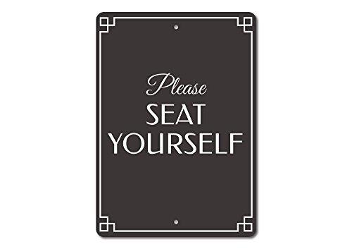 st, Hochzeit Platz Schild, Empfang Stühlen Zeichen, lustige Badezimmer, Sitzgelegenheit Richtung Schild, Qualität Aluminium 12x 18Metall Schild. (Hochzeits-empfangs-zeichen)
