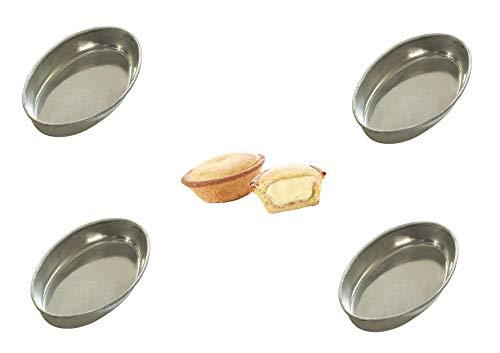 Party Store Web CASA Dolce Kastenform Oval MONOPORATION Form aus Aluminium für Süßigkeiten, Größe 10 x 6,5 x 2 cm, Kit CDC (20 Forme PASTICCIOTTO Ovale)
