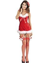 Lukis Damen Weihnachtskostüm Weihnachtsfrau Neckholder Strumpfkleid Dessous