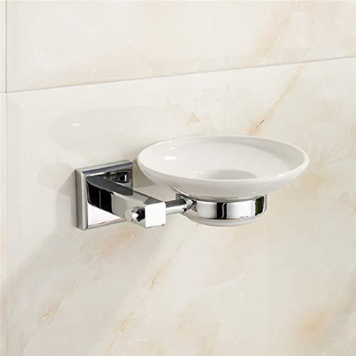 CBXSF Keramik-Seifenhalter Messing Bad Chrom/Gold-Finish Moderne Seifenschale Halter Badezimmer Seifen-Zahnstange Dusche Toilette Seifenkorb, Chrome -