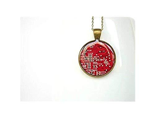 JUN Rot Platine Halskette, Schmuck, Geek Geschenke, Dome Herren Glasornamente, Handarbeit (Moderne Motherboard)