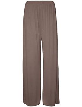 1fabeb66a1 Nuova taglie forti da donna tinta unita palazzo gamba larga svasato  pantaloni da donna pantaloni 8