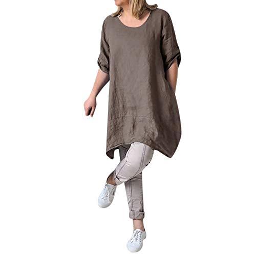 kolila Damen Leinenkleider T-Shirts Sommer Sale Womens Plus Size Lose Rundhals Casual einfarbig Kleid Tunika Bluse Tops(Braun,5XL)