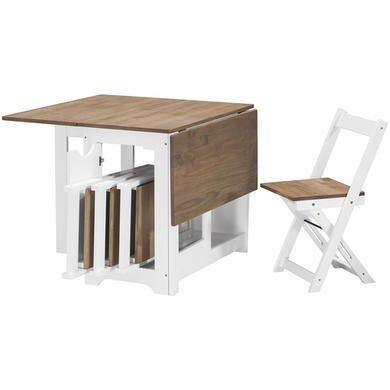 Butterfly-tisch-stuhl-set (Seconique Santos Butterfly Esstisch-Set, weiß, künstlich gealtertes und gewachstes Pinienholz)