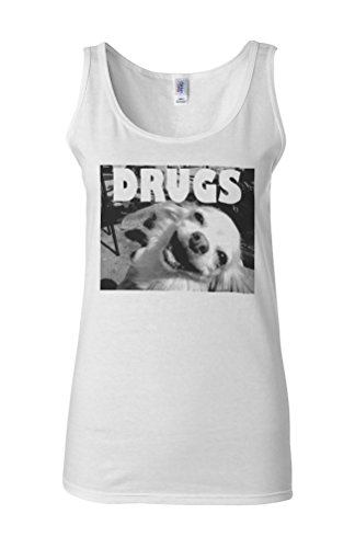 Drugs High Funny Dog Weed Novelty White Femme Women Tricot de Corps Tank Top Vest **Blanc
