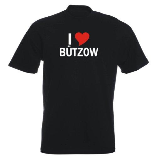 T-Shirt mit Städtenamen - i Love Bützow - Herren - unisex Schwarz