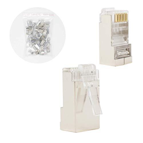 I-CHOOSE LIMITED Geschirmter Modularer CAT6 Stecker 30u Vergoldet - 50 Stück pro Beutel -