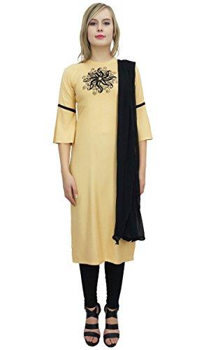 Atasi Damen Beige Rayon Casual Bestickte Churidar Straight Salwar Anzug-42 -