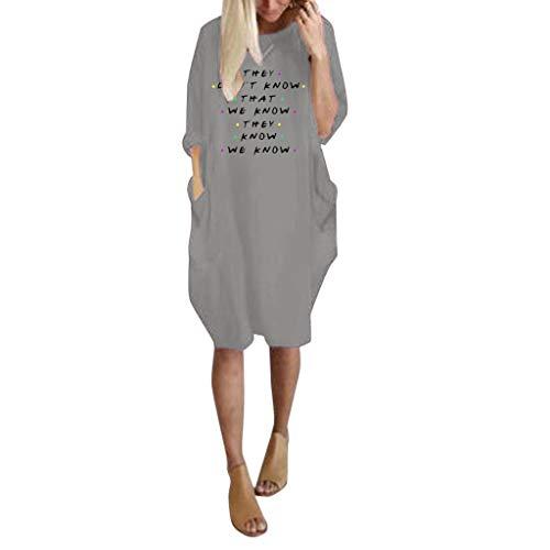 Vestito da donna di grandi dimensioni, con stampa con lettere, maniche lunghe, con tasche, vestito casual da donna, pullover per feste, vestito alla moda, taglie forti s-3xl grigio l