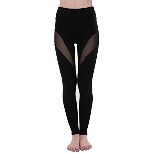 bescita Neu Frauen-Sport Gym Yoga Workout aushöhlen Leggings Fitness Lounge Sporthose (Schwarz, XL) -