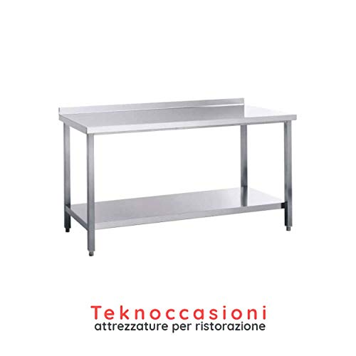 Arbeitstisch mit Stehsaum – Edelstahlgestell – Top aus Edelstahl AISI 304