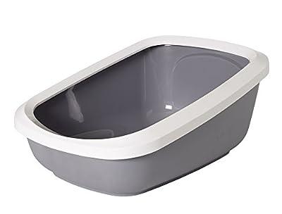 "Nobby 72185 ""Aseo Jumbo"" Cat Litter Tray with Rim, 67.5 x 48 x 28 cm, Grey-White"