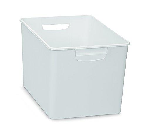 XL Aufbewahrungsbox aus Kunststoff mit zwei Griffen in WEISS (nicht transparent), Maße: 26x 38x 24cm–geeignet für Regale, Schränke, und vieles mehr (Regal 24 X 24 Cm)