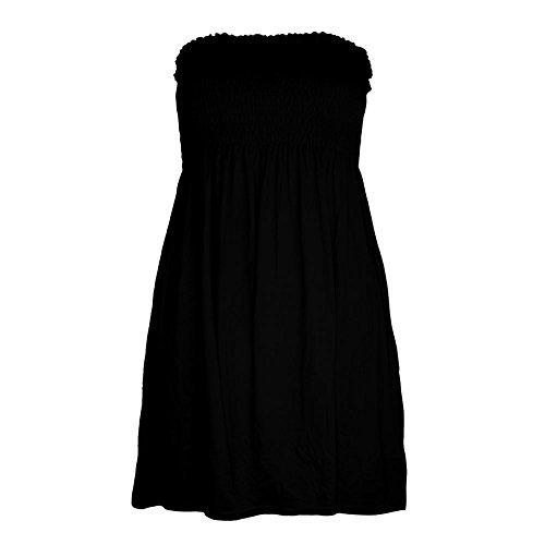 Janisramone Frauen damen Plain Gedruckt Bandeau Boobtube Mini Kleid Versammeln Sheering Sommer Flared Top