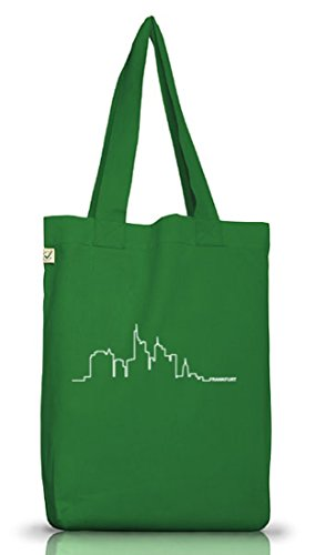 Shirtstreet24, Skyline Frankfurt, Jutebeutel Stoff Tasche Earth Positive (ONE SIZE) Moss Green