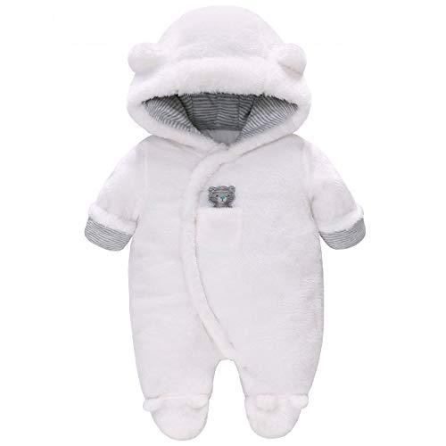 Vine Baby Schneeanzüge Winter Fleece Overall mit Kapuze Mädchen Jungen Strampler Footed Jumpsuit, Weiß 0-3 Monate