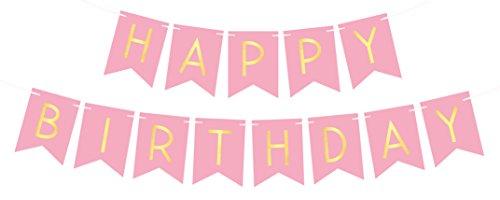 """ay"""" Girlande Banner mit Gold Buchstaben – Deko Geburtstag Party Zubehör– Gute Qualität (Rosa 40th Geburtstag Dekorationen)"""