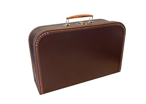Kinderkoffer dunkelbraun 35 cm Pappkoffer mit Trim
