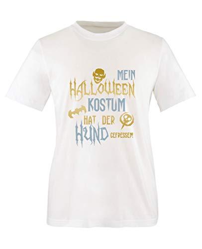 Comedy Shirts - Mein Halloween Kostuem hat der Hund gefressen - Jungen T-Shirt - Weiss/Gold-Eisblau Gr. 152/164