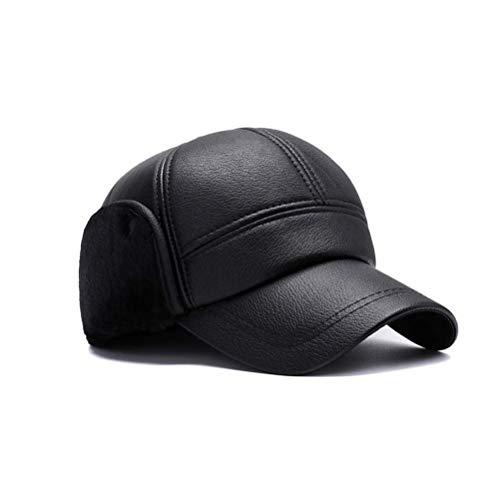 Lvcky Herren Winter-Baseballkappe mit Ohrenklappe, wasserdicht, PU-Leder, Flache Kappe - Leder Mützen Für Herren Flache