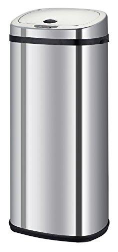 Kitchen Move BAT-42LS02-A Nouveau Modèle 2016 Poubelle de Cuisine Automatique Forme Carré Inox Chrome 42 L