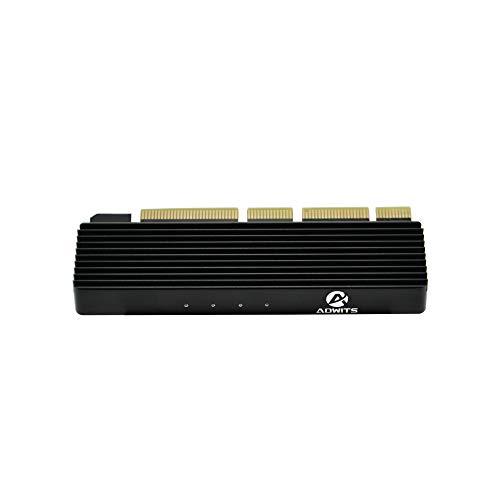 Adwits PCI Express 3.0 x16 zu PCIe-basierte NVMe und AHCI SSD-Adapterkarte mit Kühlkörper, Passt M.2 (NGFF) Formfaktor mit Schlüssel M in Größe 2230/2242/2260/2280