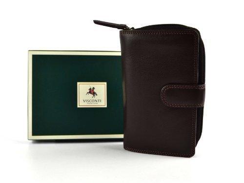 Ladies Medio Portafoglio in pelle/Portafoglio da Visconti COLLEZIONE HERITAGE Regalo In Scatola 4Colori Chocolate