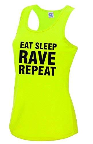 Eat Sleep Rave Repeat Ladies Neon Yellow Sports Vest. Sizes 8 to 16