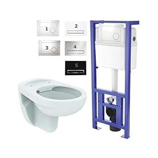 Basic, WC-Vorwandelement WC SET, Geberit Anschlussgarnitur, mit Drückerplatte weiß oder chrom, Schallschutzset, Wand WC Ideal Standard Spülrandlos, mit LotusClean-Beschichtung, WC-Sitz Absenkautomatik abnehmbar, Wandbefestigung