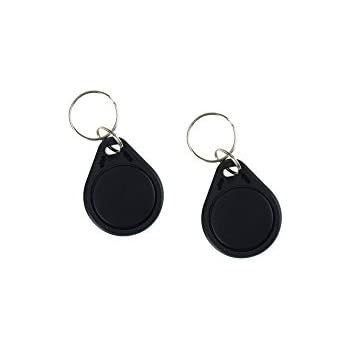 LIBO RFID Keychains NFC Smart Key Tag Card RFID Access Control Keyfobs Proximity 13.56 MHz MF Classic 1k IC S50 Token Read Only Black, Pack of 100