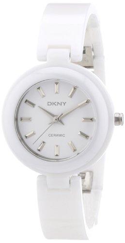 DKNY Not Assigned 3 Hand NY8550 - Reloj analógico de cuarzo para mujer, correa de cerámica color blanco