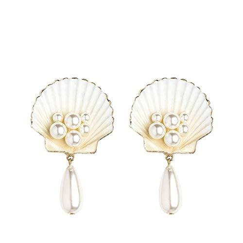 Huhua_ 423/5000 Persönlichkeit Einfache Perle Shell Metall Muschel Stern Ohrringe Schmuck für Damen